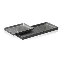 Belle & June - Brushstrokes Silver/Black Vide-Poche - Make up your own house drink and call a few friends over. They'll gasp in pleasure as your serve them using this silver and black drinks tray. It's handmade and the multi layers of lacquer will stand up to heat and spills.