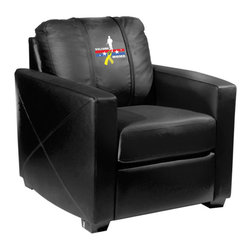 Dreamseat Inc. - Welcome Home Soldier Xcalibur Leather Arm Chair - Check out this incredible Arm Chair. It's the ultimate in modern styled home leather furniture, and it's one of the coolest things we've ever seen. This is unbelievably comfortable - once you're in it, you won't want to get up. Features a zip-in-zip-out logo panel embroidered with 70,000 stitches. Converts from a solid color to custom-logo furniture in seconds - perfect for a shared or multi-purpose room. Root for several teams? Simply swap the panels out when the seasons change. This is a true statement piece that is perfect for your Man Cave, Game Room, basement or garage.