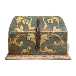 Koenig Collection - Old World Accessory Chest, Blueish Grey Distressed Over Antiqued Beige - Accessory Chest, Blueish Grey Distressed over Antiqued Beige with Scrolls