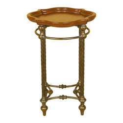 Welcome Home Accents - Round Twist Leg Accent Table - Round accent table features warm walnut finish with aged bronze twisted rope metal legs. Trayed top for easy serving.  Assembly required. Wipe with a dry cloth.