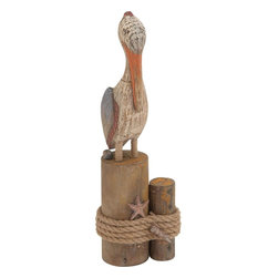 "Benzara - Antique Styled Fascinating Wood Rope Pelican - Check out this fascinating wood rope pelican that will add vintage touch to your room space. This pelican is efficiently carved out of quality wood and bottom draped well with rope in circular pattern. The wood rope pelican will be a great addition to your showcase space, on a bare table top, side tables and similar other set ups. The wood rope pelican will take you hard back to yester years. Wood rope pelican will catch hold eyes of many and make you win appreciations from them. In addition to this you can also gift this wood rope pelican to your near and dear ones. They'll love to receive this and will be thankful to you. So, what are you thinking of? Get this wood rope pelican right away. This wood rope pelican is worth owning one. Wood Rope Pelican measures 6 inches (Width) x 4 inches (D) x 18 inches (Height) ; Made of quality wood, bottom draped with rope; Antique styled ; Dimensions: 7""L x 5""W x 19""H"