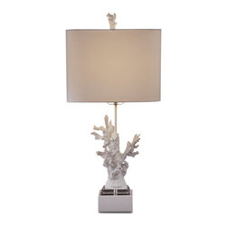 Bassett Mirror - White Coral Table Lamp - Both an art piece and a light source, this lamp provides a unique accent.  Reminiscent of coral found around the world, this lamp is a reminder of nature's beauty and is an eclectic addition to any room.