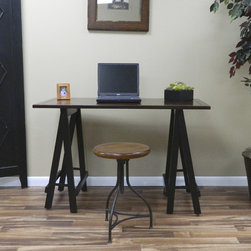 """Carolina Cottage - Workman Sawhorse Desk - Simplify your workspace with their classic architectural workman desk. Features: -Mitered corners.-Hand rubbed edges.-Antique finished legs.-Distressed finish.-Desk Type: Writing Desk.-Powder Coated Finish: No.-Gloss Finish: No.-UV Finish: No.-Top Material: Manufactured Wood.-Base Material: Wood.-Number of Items Included: 1.-Non-Toxic: Yes.-Water Resistant: No.-Stain Resistant: No.-Heat Resistant: No.-Style: Modern.-Design: Standard Desk.-Distressed: Yes.-Eco-Friendly: Yes.-Cable Management: No.-Keyboard Tray: No.-Height Adjustable: No.-Drawers Included: No.-Jewelry Tray: No.-Exterior Shelving: No.-Cabinets Included: No.-Ergonomic Design: No.-Handedness: Both.-Scratch Resistant: No.-Chair Included: No.-Legs Included: Yes -Number of Legs: 4.-Leg Material: Wood.-Leg Glides: No..-Casters Included: No.-Hutch Included: No.-Treadmill Included: No.-Cork Back Panel: No.-Modesty Panel: No.-CPU Storage: No.-Built In Outlet: No.-Built In Surge Protector: No.-Light Included: No.-Finished Back: Yes.-Tipping Prevention: No.-Modular: No.-Commercial Use: No.-Product Care: Wipe with a clean soft cloth as needed.-Weight Capacity: 150 lbs.-Solid Wood Construction: No.-Swatch Available: No.-Recycled Content: No.Specifications: -FSC Certified: No.-EPP Certified: No.-CARB Compliant: Yes.-ISTA 3A Certified: Yes.-General Conformity Certificate: Yes.-Green Guard Certified: No.-ANSI BIFMA Certified: No.-SCS Certified: No.-ADA Compliant: No.-FIRA Certified: No.-GSA Approved: No.Dimensions: -Overall Height - Top to Bottom: 30"""".-Overall Width - Side to Side: 40"""".-Overall Depth - Front to Back: 20"""".-Desktop Height: 30"""".-Desktop Width - Side to Side: 40"""".-Desktop Depth - Front to Back: 20"""".-Knee Space Height: 26"""".-Legs: Yes.-Overall Product Weight: 24 lbs.Assembly: -Assembly Required: Yes.-Tools Needed: All tools are included.-Additional Parts Required: No."""