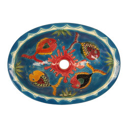 Casa Daya Tile - Made to order Talavera Hand Painted Tropical Fish Sink, Large - The styles are influenced by the beautiful Spanish architecture in the Guanajauto state of Mexico from the time the Spanish inhabited the area starting in the 1520's.