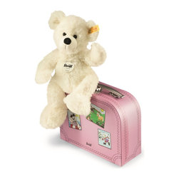 Steiff Lotte Teddy Bear in Pink Suitcase - Steiff Lotte Teddy Bear in Suitcase is made of cuddly soft white plush. Ages 3 and up. Machine washable without the suitcase. Handmade by Steiff of Germany.