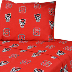 College Covers - North Carolina State Wolfpack Collegiate Red King Bed Sheets - Features: