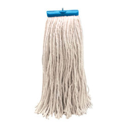 """UNISAN - 16 Oz Mop Head Lieflat Rayon - Four-ply, cut-end yarn. Absorbent natural cotton fiber for general mopping. Rayon has immediate absorbency and wet release properties ideal for finishing. Cotton/synthetic blend absorbs 5.5 times its weight in water. Standard heads use clamp style mop handles; saddleback heads use clamp or gripper style handles; lie flat heads use lie flat screw-in handles (all sold separately). 12 mop heads per case. Economical Lie flat Head. Rayon 16-oz. Mop lies flat on the floor. Plastic, molded cap with metal 1/4"""" threaded bolt head."""