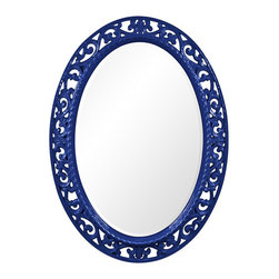 "Howard Elliott - Openwork Howard Elliott Suzanne 27"" x 37"" Royal Blue Wall Mirror - Oval wall mirror. Royal blue finish. Carved scroll design. Glossy finish. Resin construction. Mirror only is 20"" wide 30"" high. Hang weight is 21 pounds. Made to order. 27"" wide. 37"" high. 1"" deep.     Oval wall mirror.  Royal blue finish.  Carved scroll design.  Glossy finish.  Resin construction.  Mirror only is 20"" wide 30"" high.  Hang weight is 21 pounds.  Made to order.  27"" wide.  37"" high.  1"" deep."