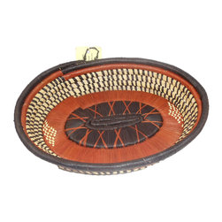 Fair Trade - Oval Hand Woven Basket Brown Rust Africa Serving Tray - Hand woven artisan basket created from palm leaves with a loop on the side for hanging.