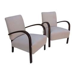 """Pre-owned Paulo Buffa Arm Chairs - A Pair - Paulo Buffa brings us elegant lines and comfort in these newly re-upholstered in cotton canvas pair of arm chairs.  A classy pair that make lounging in style easy! Seat height measures 14""""."""