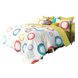 Silver Fern Decor - Mustard, Aqua Blue & Orange Circle Pattern Duvet Cover Set, Full - Details)