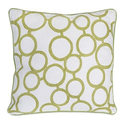 IMAX CORPORATION - Green Rings Pillow - This bold accent pillow is great for modern family homes. The child-like swirl embroidery makes this functional accessory great for any living area or bedroom. Find home furnishings, decor, and accessories from Posh Urban Furnishings. Beautiful, stylish furniture and decor that will brighten your home instantly. Shop modern, traditional, vintage, and world designs.