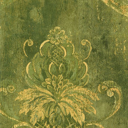 Damask in Green and Gold - CS27330 - Collection:Classic Silks