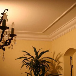 130 DCT Plain Styrofoam Crown Molding-6 in wide & 6.5 ft. long - Profile is 6 1/2 inches