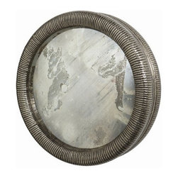Arteriors Home - Arteriors Home Easton Mirror, Large - Arteriors Home 4062 - Arteriors Home 4062 - This convex mirror has hand carved channel detailing clad with antique silver finished brass surrounding the inset mirror.