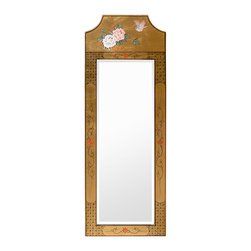 China Furniture and Arts - Gold Leaf Flower Motif Mirror - Framing a fine mirror is the hand-painted flowers and birds on completely gold-leafed wood. Elegant and exquisite. Perfect to hang above a cabinet or chest. Brass hanger.