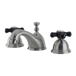 Kingston Brass - Widespread Lavatory Faucet With Black Porcelain Cross Handle KS3968PKX - Featuring a pair of porcelain black cross handles, the Restoration Onyx Widespread Lavatory Faucet will bring a touch of luxuriousness to any bathroom. This faucet will last for years to come thanks to its solid brass construction and durable finishing. Ceramic disc cartridges installed for drip-free performance exceeding industry standards. Transform your bathroom with the new black from Restoration Onyx.. Manufacturer: Kingston Brass. Model: KS3968PKX. UPC: 663370303975. Product Name: Kingston Brass Restoration Onyx Widespread Lavatory Faucet With Black Porcelain Cross Handle, Satin Nickel. Collection / Series: Restoration Onyx. Finish: Satin Nickel. Theme: Traditional. Material: Brass. Type: Bathroom Faucet. Features: Solid Brass Construction