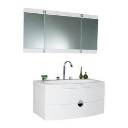 Fresca - Fresca Energia Orange Modern Bathroom Vanity w/ Three Panel Folding Mirror, Whit - Fresca Energia White Modern Bathroom Vanity w/ Three Panel Folding Mirror
