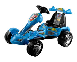 Trademark Global - Lil' Rider Battery Operated Blue Ice Go-Kart - Bright Colors: Blue and Yellow. Battery: Sealed and Dry Style 6V 7AH. Top Speed: 2 MPH. Weight Capacity: 55 lbs.. Sound Effects: Horn & Music . Sound Effects Require 3 AA Batteries - Not Included. Forward and Reverse. Bucket Seat with high back . Battery: Sealed 6V 10Ah . AC/DC Recharging Adaptor. Washable tires . Battery Operated . Ages 3-7. Dimensions: 38 in. L x 26 in. W x 22.5 in. in HKids on-the-go will have a blast with this incredible Lil' Rider Blue Ice Battery Operated Go-Kart! From its high-backed bucket seat to its low-riding comfort, this baby is packed with delightful touches. Kids press the pedal on the floor to get goin', and turn the steering wheel to make sharp turns. Butterfly steering wheel makes it easy for little hands to steer and features buttons for sound effects.