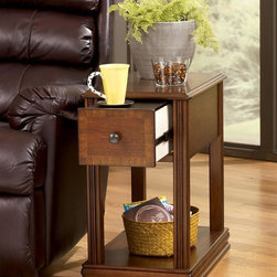 Signature Design by Ashley - Brown Finish Chairside End Table w Drawer - Single Drawer. Color: Brown. 13 in. L x 22 in. W x 23 in. H (31 lbs)