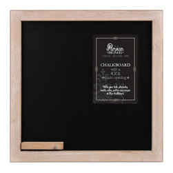 """Enchante Accessories Inc - Parisian Home Wooden Framed Chalkboard with 6 x 4 Photo Opening (11.75""""x11.75"""") - Parisian Home Old School House Style Wooden Framed Chalkboard"""