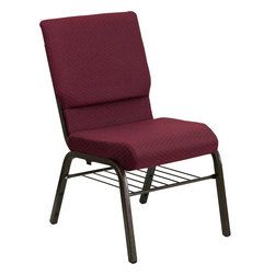 Flash Furniture - Hercules Series 18.5'' Wide Burgundy Patterned Church Chair With 4.25'' Thick Se - This HERCULES Series Church Chair will add elegance and class to any Church, Hotel, Banquet Room or Conference setting. If you are looking for a chair with comfort and style that is easy to move and stores away with ease, then look no further. This built to last chair has a 16-gauge steel frame that has been tested to hold 800 lbs. This church chair features double support bracing, ganging clamps, a cushion that graduates to a 4.25'' thick waterfall edge and plastic floor glides to protect non-carpeted floors. Our church chair is manufactured by one of the most reputable stack chair manufacturers in the industry, you can be assured of the quality of this chair offered to you.