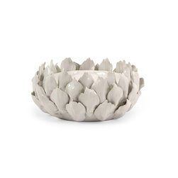 Low Artichoke Candle Holder - White artichoke shaped candle holder