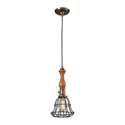 Elk Lighting - EL-65137-1 Spun Wood 1-Light Pendant in Vintage Brass and Vintage Rust - The Spun Wood Collection combines the warmth of genuine turned wood with a restoration style cage. The finishes accentuate the material combinations which include mahogony finished wood, natural brass accents, and a vintage rust cage or washed pine with polished nickel accents and cage.