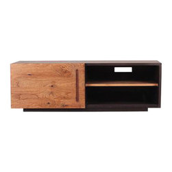 Right Angles Teak Console - Both durable and affordable, this console is made with gorgeous teak wood, has one sliding door, and a convenient wire and cable spot in the back. Great for just about anything, use it for your TV and movie collections, extra storage, a record player and vinyl console���you name it. Its high-quality craftsmanship means this luxe console will far outlast its competition, while its crisp lines and angles make this a timeless piece you'll actually want to keep around.