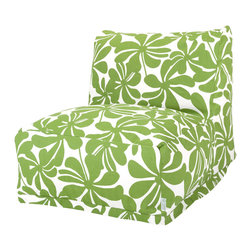 Majestic Home - Outdoor Sage Plantation Bean Bag Chair Lounger - Add style and functionality to your living room, family room or outdoor patio with the Majestic Home Goods Bean Bag Chair Lounger. This Beanbag Chair has the design of modern furniture, while still giving the comfort of a classic bean bag. Woven from outdoor treated polyester, these loungers have up to 1000 hours of U.V. protection and are able to withstand all of natures elements. The beanbag inserts are eco-friendly by using up to 50% recycled polystyrene beads, and the removable zippered slipcovers are conveniently machine-washable.