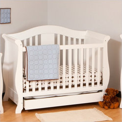 Stork Craft Vittoria 3-in-1 Fixed Side Convertible Crib in White
