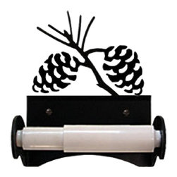 Village Wrought Iron - Village Wrought Iron TT-B-89 Pinecone Tissue Holder w/ Plastic Roller - Decorative, functional and long lasting handcrafted products for your home carefully made using the finest materials and time-tested methods of craftsmanship. Quality and durable coated products have a baked on powder coating to ensure that you may enjoy each piece for many years. Toilet Tissue Holder Measurements Are Approximate. Proudly crafted in the USA. Material is Handcrafted Iron. Finish is a Flat Black Powder Coated Iron for that long lasting appeal. Silhouette Sizes Vary Slightly. Dimensions are approximately: 5 3/4 In. W x 6 1/2 In. H x 3 1/2 In. D.