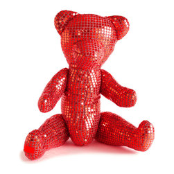 Freddy Dico - Sequins Teddy Bear Sculpture (Crystal Heart) - Covered in light-catching 'mirror' sequins, this precious teddy bear sculpture can be both art object or statement-making pillow. Featuring a hand-signed adoption certificate and made with a natural Ametrine crystal at its heart, this couture-crafted huggable bear amps up any abode.