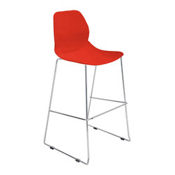 "Lumisource - Droplet Barstool, Red - 22"" L x 21"" W x 43.75"" H"