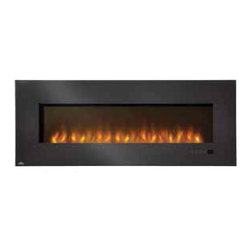 "Wolf Steel - EFL60H Napoleon Electric Fireplace - 110V-1500 Watts (5,000 BTU's) heater, Complete with hand held remote, Features reliable energy-saving LED technology, Mobile home approved, Wall mount or recessed    Offers a clean, crisp contemporary  design and the conveniences of simply hanging, plugging in and enjoying. Features an unmatched flame technology and realistic flame pattern, a generous glass front with wide black glass framing,  a contemporary glass ember bed and an LED light strip. Can be recessed into a 2"" + 4"" wall for reduced protrusion into the room or  surface mounted on the wall. A beautiful way to add ambiance and  comfort to any room in the home."