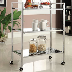 "Acme Furniture - Tovi Serving Cart in Chrome and Tempered Black Glass - Tovi Serving Cart in Chrome and Tempered Black Glass; Finish: Chrome & 5mm Temp. Black Glass; 4 Casters, with 5mm Tempered Black Glass (Printed Flower Design) (Not Beveled); Materials: Metal, Glass, 4 Casters; Weight: 24.25 lbs; Dimensions: 26"" x 14"" x 35""H"