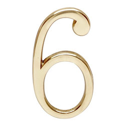 "Renovators Supply - House Numbers 3"" H Bright Brass #6 or #9 Pin-Mount House Number - Petite door and house numbers in solid brass measure 3 in. high. RSF finish protects 20 to 40 times longer than standard lacquers.  No screws required as each number has back pins. Simply make holes onto which the number will be placed and secure with glue or epoxy as needed."
