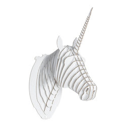 Zeckos - Cardboard Safari Medium Merlin Jr. White Unicorn Head Wall Sculpture - Cardboard Safari wall sculptures are an animal friendly, environmentally kind way to add a masculine touch to your decor. Made of recycled cardboard, each Cardboard Safari sculpture is laser cut for precision fit and easy assembly using slotted construction. They ship flat and assemble easily, if you use the included detailed instructions, or check out the assembly instructional videos on YouTube. This medium sized white 'Merlin Jr.' unicorn head sculpture is a great focal point decor piece for any room. It measures 13 1/2 inches tall, 5 1/2 inches wide and 10 inches deep, once assembled. The white cardboard looks great by itself, but also allows you to show off your creative side, by adding paint, markers, glitter or wrapping paper to give Merlin Jr. a touch of color. He makes a great gift for friends and family.
