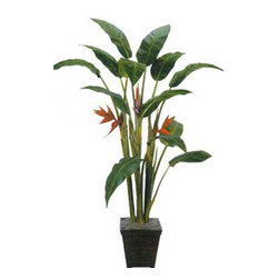 Oriental-Décor - 7' Tall Giant Heliconia Tree - Live Heliconia plants are an impressive sight, especially with their colorful leaves that appear like full blooms. A tropical, exotic tree related to bananas and ginger, Heliconia plants need considerable maintenance and may not thrive in cold weather. These plants also require heavy mulching, which means lots of hard work. If having live Heliconia plants in your home is a near impossibility, this 7 foot tall Giant Heliconia Tree is an excellent next choice. Made from durable silk and polyester, this artificial house plant will surely make any indoor setting achieve a lush, more comfortable look. With an artificial plant, there is no need for you to worry about watering or pruning or making sure the plant gets all the sunlight it needs. They also make excellent decorative pieces for offices and commercial spaces, without the need for huge maintenance. With this 7 foot tall Giant Heliconia Tree, decorating your Asian-inspired interiors is very easy!