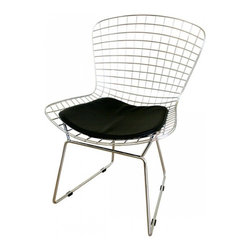 Bertoia Style Chair, Black Pad - With his iconic seating collection, Harry Bertoia transformed industrial wire rods into a new furniture form. With its unique bent and welded steel rod construction the chair is exceptionally strong and surprisingly comfortable. The removable leatherette seat cushion is padded with a foam insert for softness. The brightly chromed steel frame pairs nicely with all other modern classic furnishings. The wide, contoured chair is suited to contemporary living rooms, bedrooms and professional reception areas.
