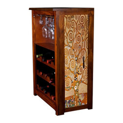 Kelseys Collection - Wine Cabinet 15 bottle Tree of Life by Klimt - Wine Cabinet stores fifteen wine bottles and glassware with licensed artwork by Kim Drew giclee-printed on canvas side panels  The frame, top, and racks are solid New Zealand radiata pine with a hand stained and hand rubbed medium reddish brown finish, which is then protected with a lacquer coat and top coat. The art is giclee printed on canvas with three coats of UV inhibitor to protect against sunlight, extending the life of the art. The canvas is then glued onto panels and inserted into the frames.