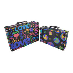 Set of 2 Peace and Love Hippie Themed Rectangular Boxes - These boxes provide a little extra storage space and add a fun accent to your home. They are perfect for storing small keepsakes, craft and hobby supplies, and collections of small items in an attractive way, so you don`t have to hide the boxes in a closet. The boxes are made of wood and covered with a canvas material that features colorful peace and love graphics. The lids are hinged and have clasps to secure them. The largest box measures 14 inches long, 4 1/2 inches wide, 9 1/2 inches high, the smaller box measures 11 1/2 inches long, 3 1/2 inches wide, 7 inches high. They nest for storage purposes, and look great stacked in the corner of a room or on a table or shelf.