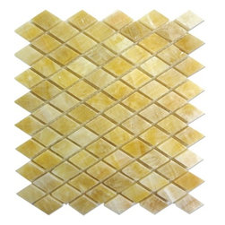 """Marbleville - Honey Onyx Diamond Pattern Polished Finish Mesh-Mounted Mosaic in 12""""x12"""" Sheet - Premium Grade Honey Onyx Diamond Pattern Polished Finish Mesh-Mounted Onyx Mosaic is a splendid Tile to add to your decor. Its aesthetically pleasing look can add great value to any ambience. This Mosaic Tile is made from selected natural stone material. The tile is manufactured to high standard, each tile is hand selected to ensure quality. It is perfect for any interior projects such as kitchen backsplash, bathroom flooring, shower surround, dining room, entryway, corridor, balcony, spa, pool, etc."""