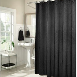 M.style Llc Div Jeffery Fabrics Inc - M. Style Waves 72-Inch x 72-Inch Shower Curtain in Black - Inspired by the movement of water rushing over river stones, the uniquely woven fabric of this shower curtain offers highlights and lowlights to catch the movement of the pattern.