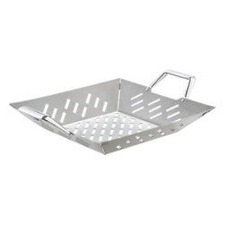Stainless Steel Square Grill Basket with Cast Handles - Square flared basket lets you grill smaller foods and stirfries without losing precious bits through the grill grate. Basket with cast aluminum handles makes it easy to transfer foods and leaves less residue on the grill.