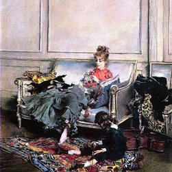 """Giovanni Boldini Peaceful Days (The Music Lesson) Print - 18"""" x 24"""" Giovanni Boldini Peaceful Days (also known as The Music Lesson) premium archival print reproduced to meet museum quality standards. Our museum quality archival prints are produced using high-precision print technology for a more accurate reproduction printed on high quality, heavyweight matte presentation paper with fade-resistant, archival inks. Our progressive business model allows us to offer works of art to you at the best wholesale pricing, significantly less than art gallery prices, affordable to all. This line of artwork is produced with extra white border space (if you choose to have it framed, for your framer to work with to frame properly or utilize a larger mat and/or frame).  We present a comprehensive collection of exceptional art reproductions byGiovanni Boldini."""