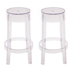 Ariel - Set Of 2 Victoria Style Ghost Counter Stool Clear Color - A compact version of the Victoria Style Ghost Bar Stool, the Counter Stool is perfect for dining rooms, kitchens, or other meeting areas. High quality polycarbonate composition gives it a more solid, rigid feel when compared to regular polypropylene chairs. Backless design frees up space taken up by traditional tall backed stools.