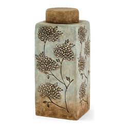 Imax - Fantina Aqua Beige Large Canister with Lid Terracotta Home Decor - Fantina aqua beige large canister with lid terracotta living and family room home accent decor