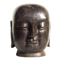 Golden Lotus - Chinese Hand Carved Stone Buddha Head Statue - You are looking at a Chinese hand carved stone Buddha head statue. This Buddha head is made of marble stone and has very detailed and precise hand carving. It is a unique decor to put either inside the house or in the garden.