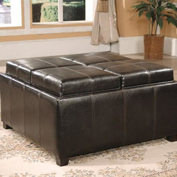 Asia Direct Home - Square Ottoman with Four Top Convertible Cush - Constructed in solid wood. Upholstered in black leather like PU. Four top cushions converting to trays. Wooden legs. Dimensions: 36 in. W x 36 in. D x 18 in. HThis versatile ottoman is a must have for your entertainment room. It works both as a ottoman and coffe table. The four PU covered seat cushions also serves as serving trays for your food and snacks.